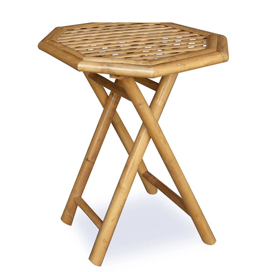 Home Roots Oahu Natural Octagonal Folding Bamboo End Table
