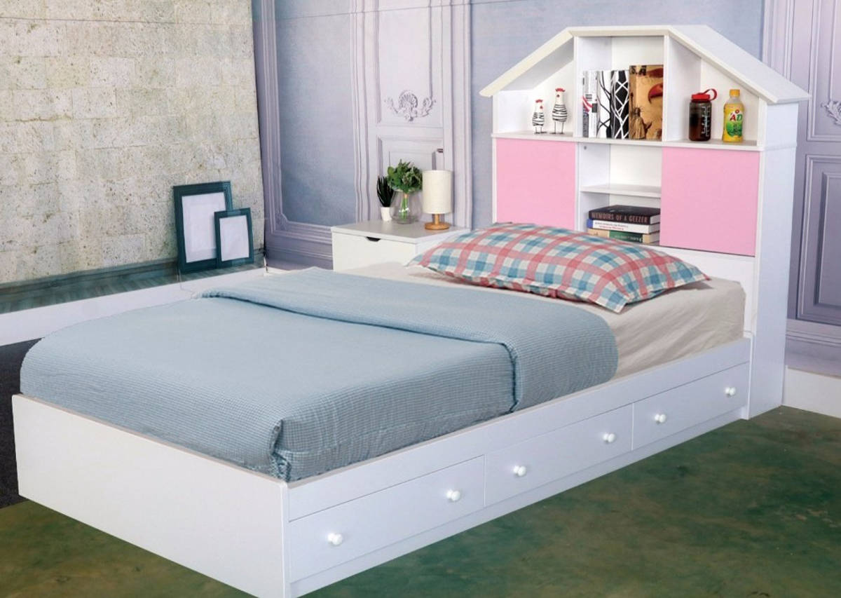Homeroots White Wood Bookcase Headboard Twin Chest Bed With 3 Drawers