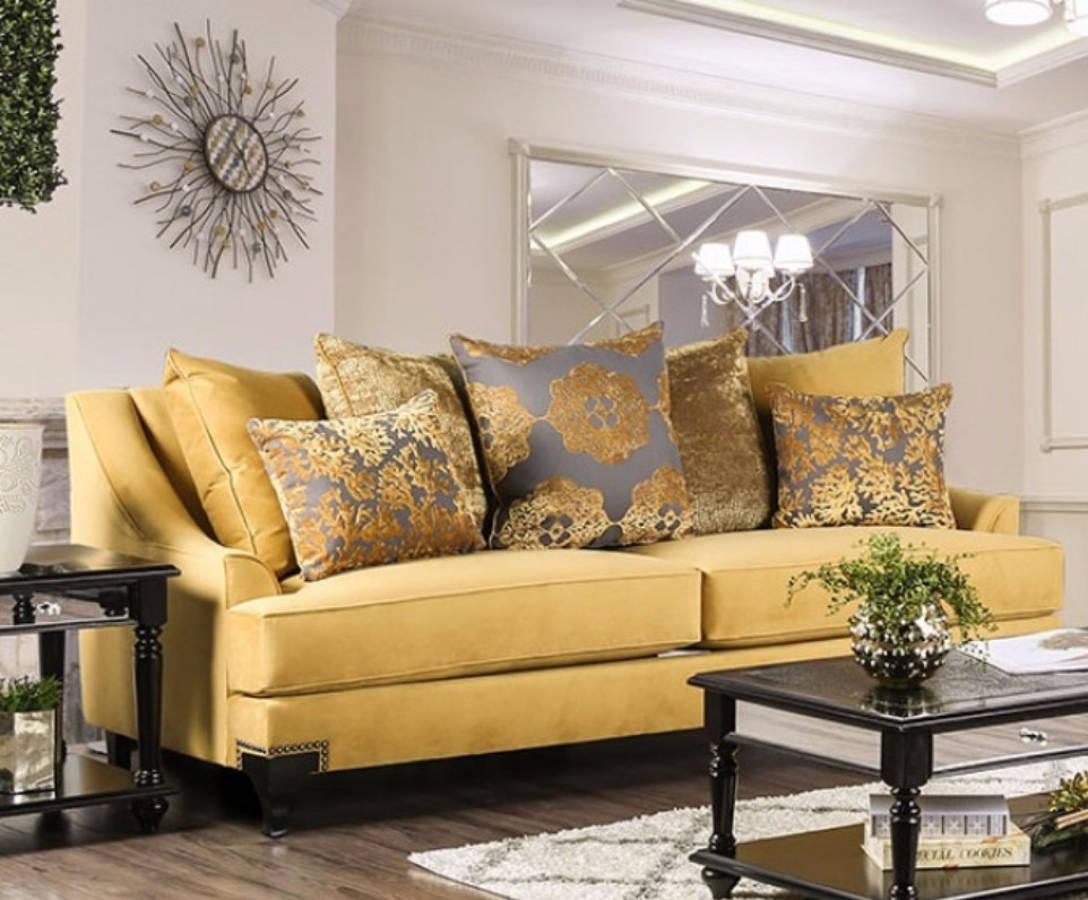 HomeRoots Modern Gold Velvet Fabric Sofa