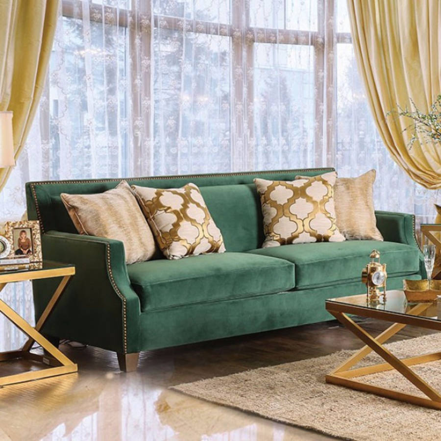 HomeRoots Green Microfiber Gorgeous Emerald Sofa with Gold Tonned Pillows