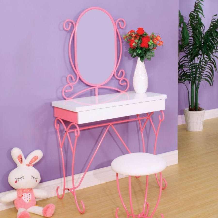 Homeroots Pink White Metal Vanity Set With Stool
