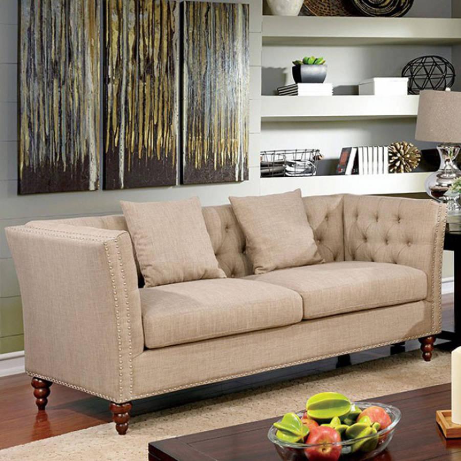 HomeRoots Contemporary Beige Linen Solid Wood Sofa