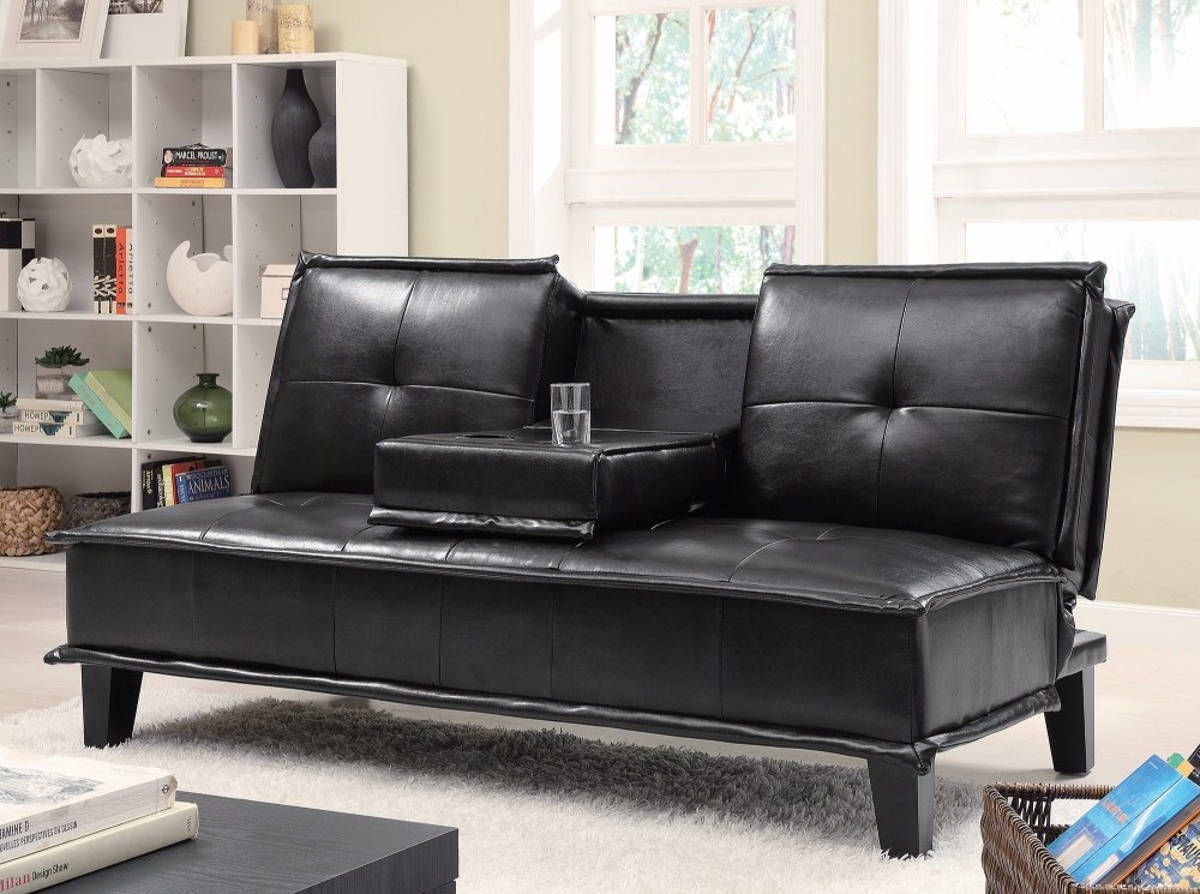 HomeRoots Contemporary Black Leather Sofa Bed with Drop Down Table