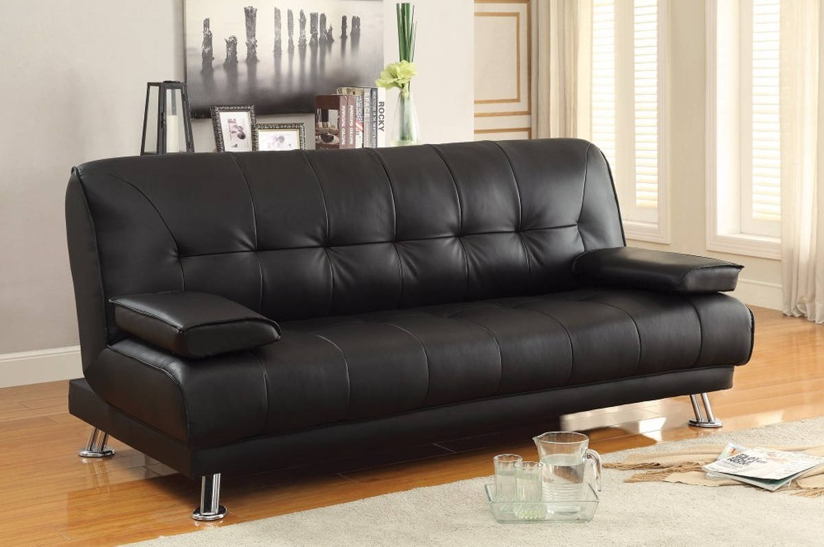 HomeRoots Black Faux Leather Convertible Sofa Bed with Removable Armrests