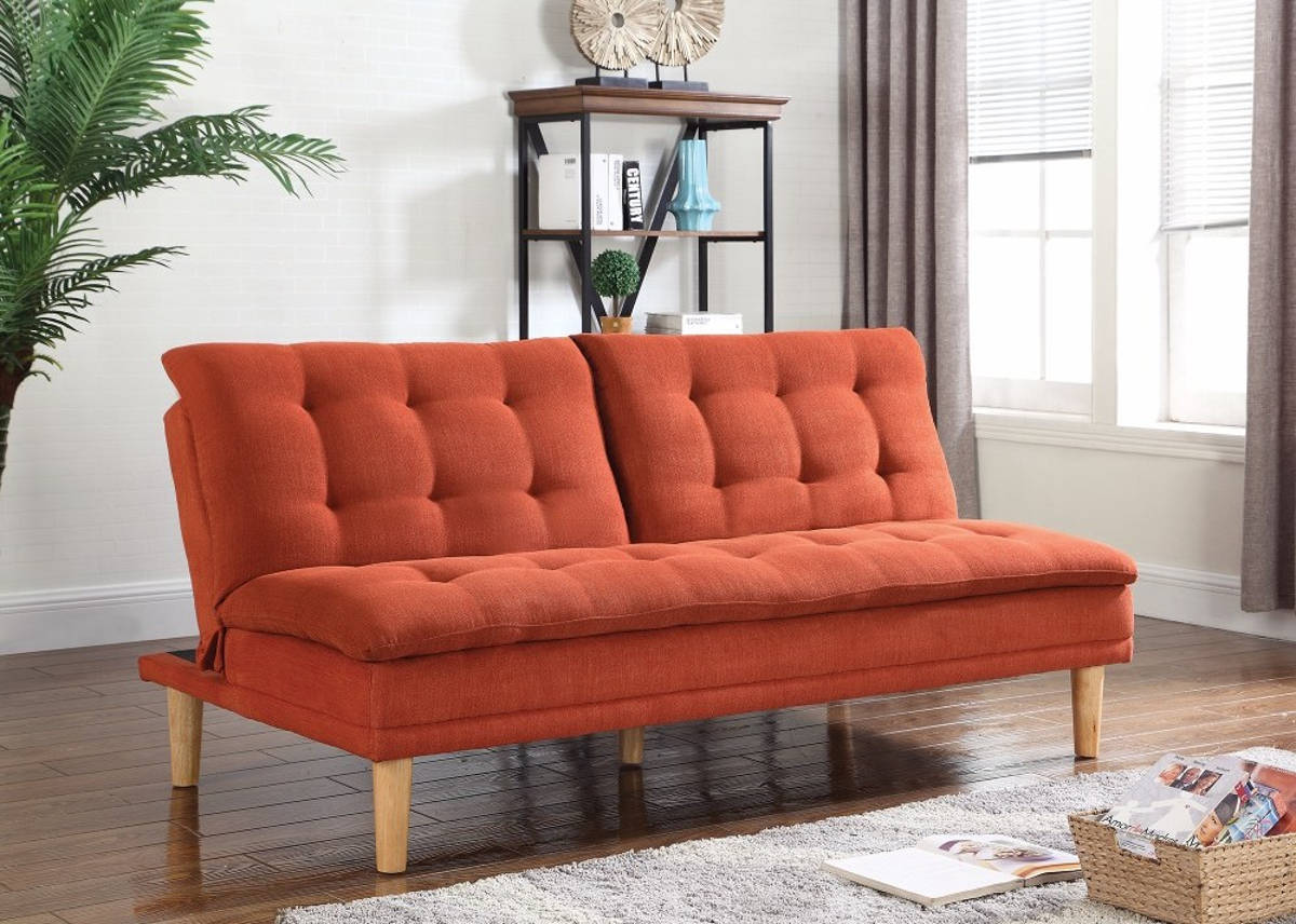 HomeRoots Modern Orange Fabric Tufted Sofa Bed