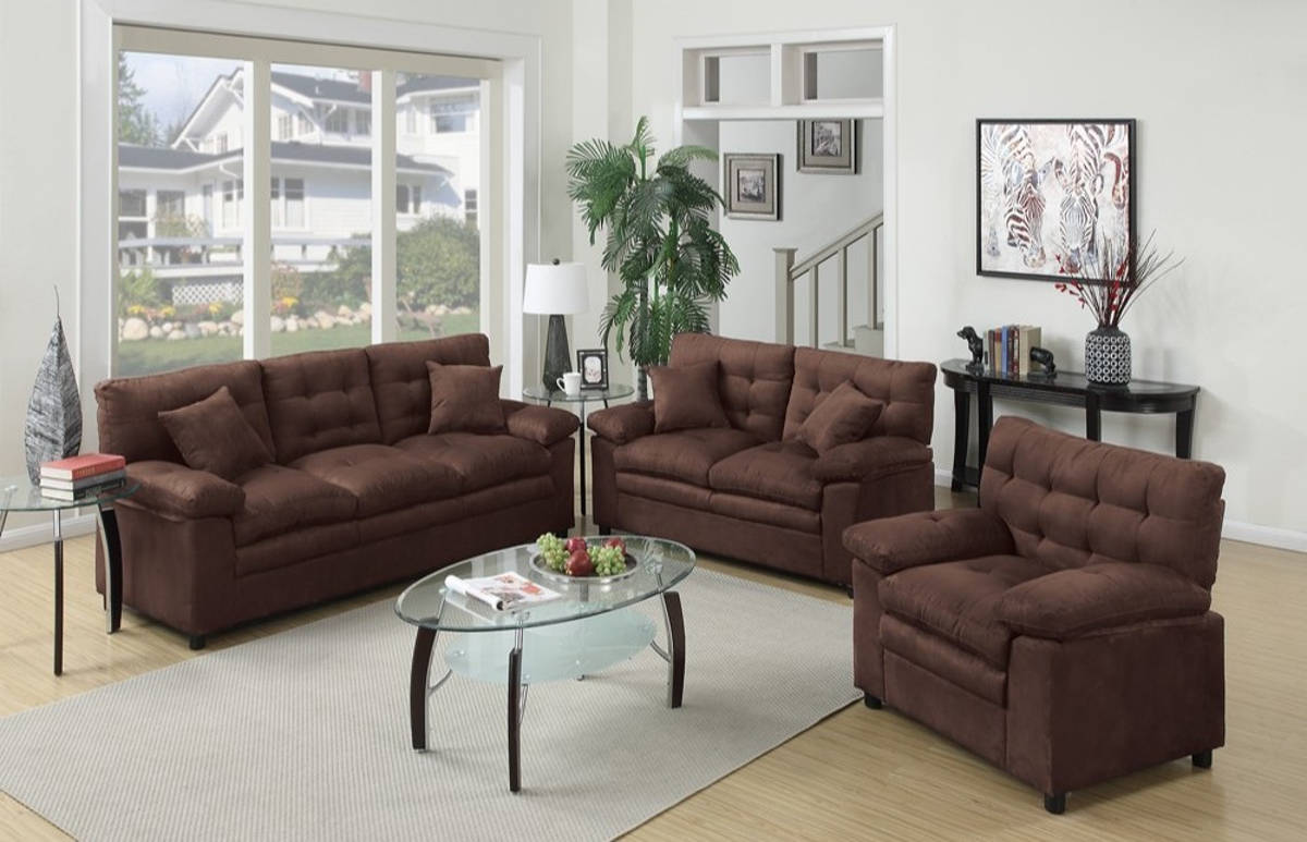 HomeRoots Choco Brown Microfiber 3pc Living Room Set