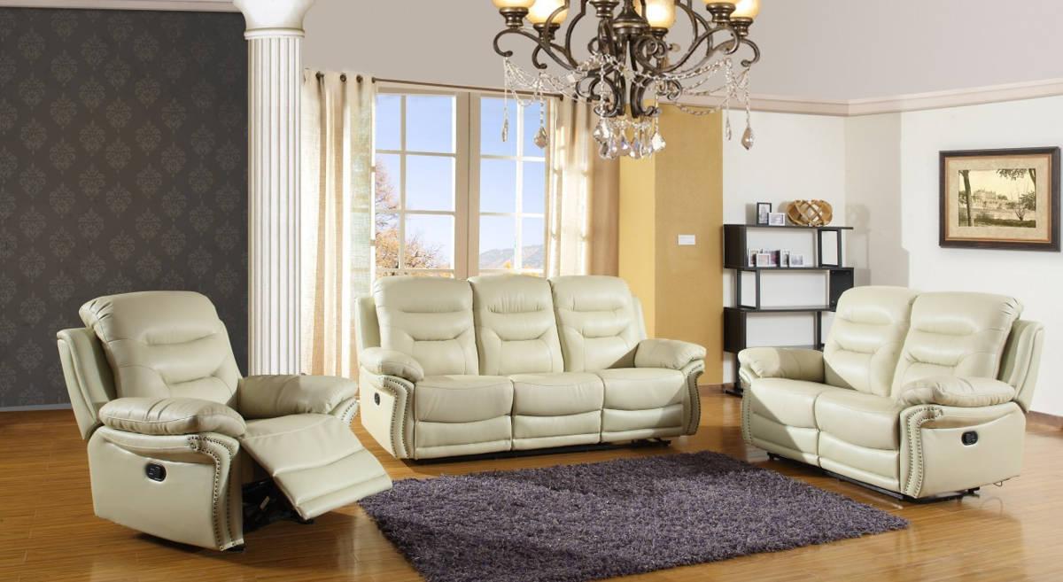 HomeRoots Beige Leather Comfortable 3pc Living Room Set