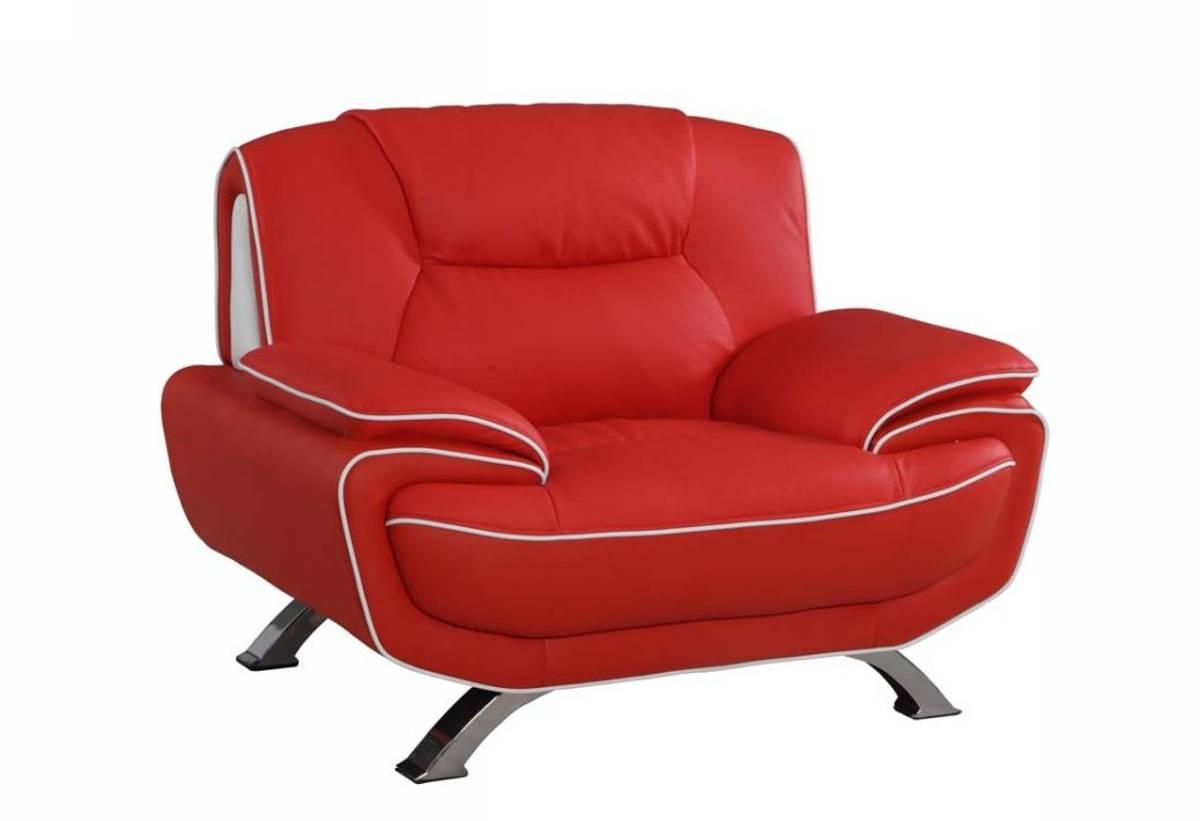 Stupendous Homeroots Modern Red Leather Sleek Chair Uwap Interior Chair Design Uwaporg