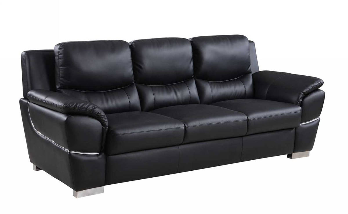 HomeRoots Modern Black Leather Chic Sofa