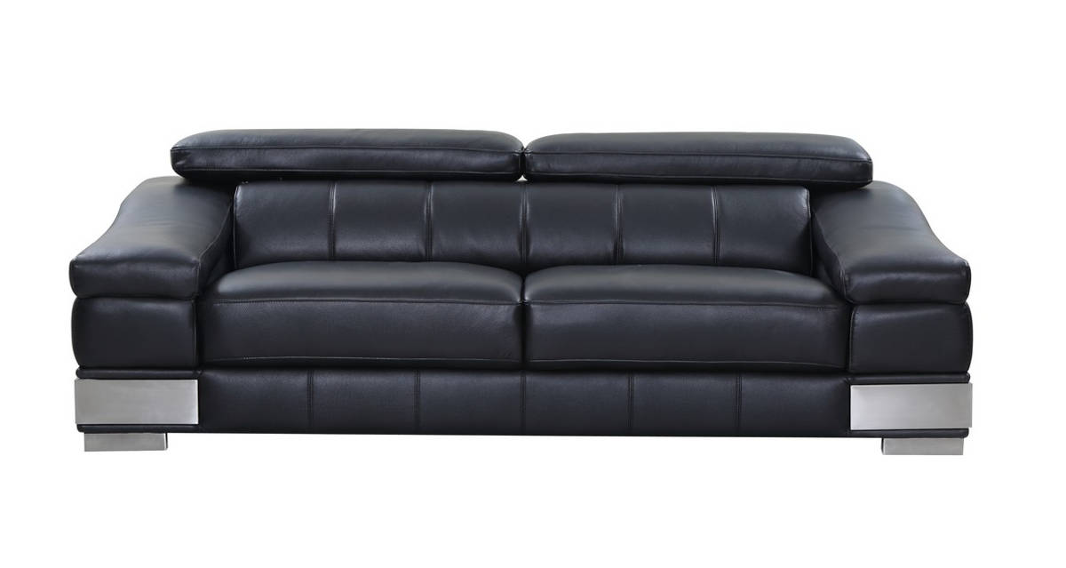 HomeRoots Modern Black Leather Sofa
