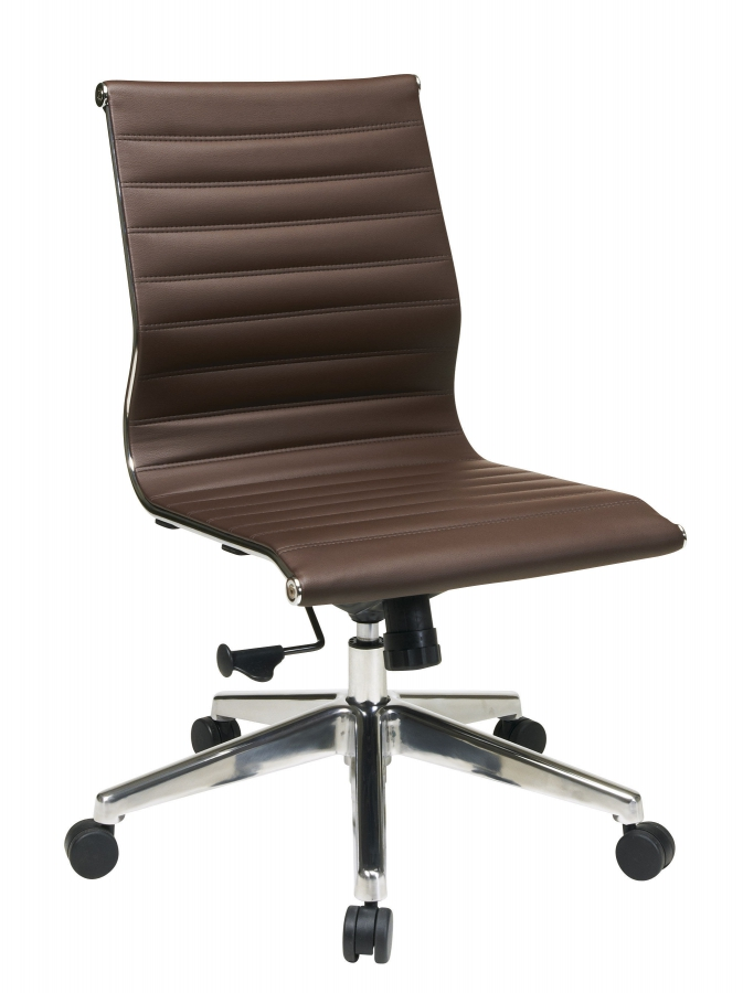 Modern Armless Mid Back Chocolate Bonded Leather Chair