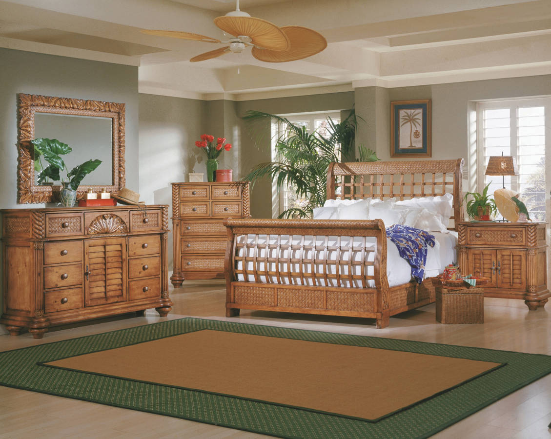 Palm Court Pine Wood MDF Rattan 2pc Bedroom Set W/Queen