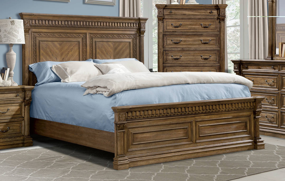Venetian Traditional Pecan Wood King Mansion Bed The Classy Home
