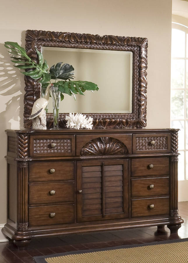 Progressive Furniture Palm Court Ii Coco Brown Dresser And Mirror The Cly Home