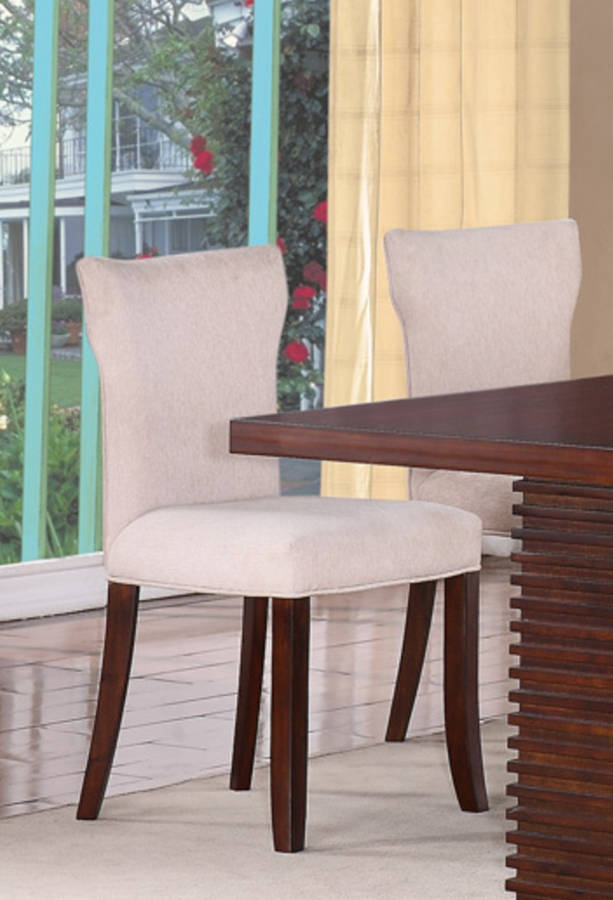 2 Hightower Transitional Mahogany Wood Upholstered Chairs The
