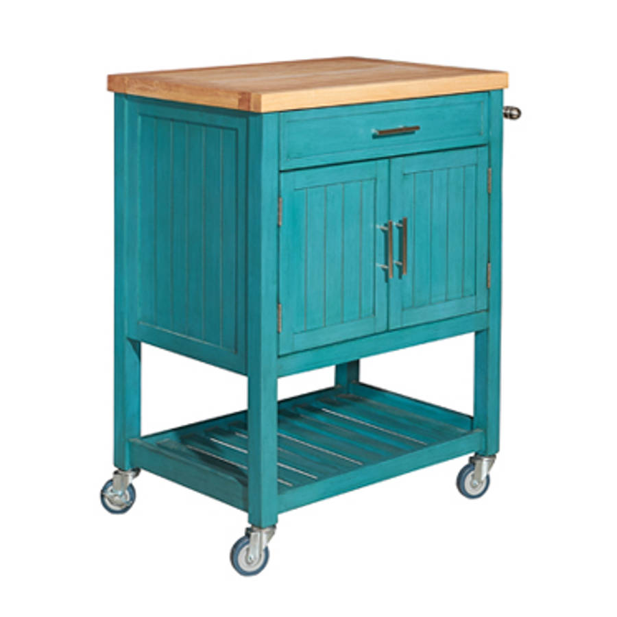 Powell Furniture Sydney Teal Kitchen Cart | The Classy Home