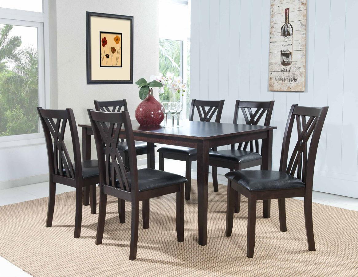 Masten Contemporary Espresso Birch Veneer 7pc Dining Room