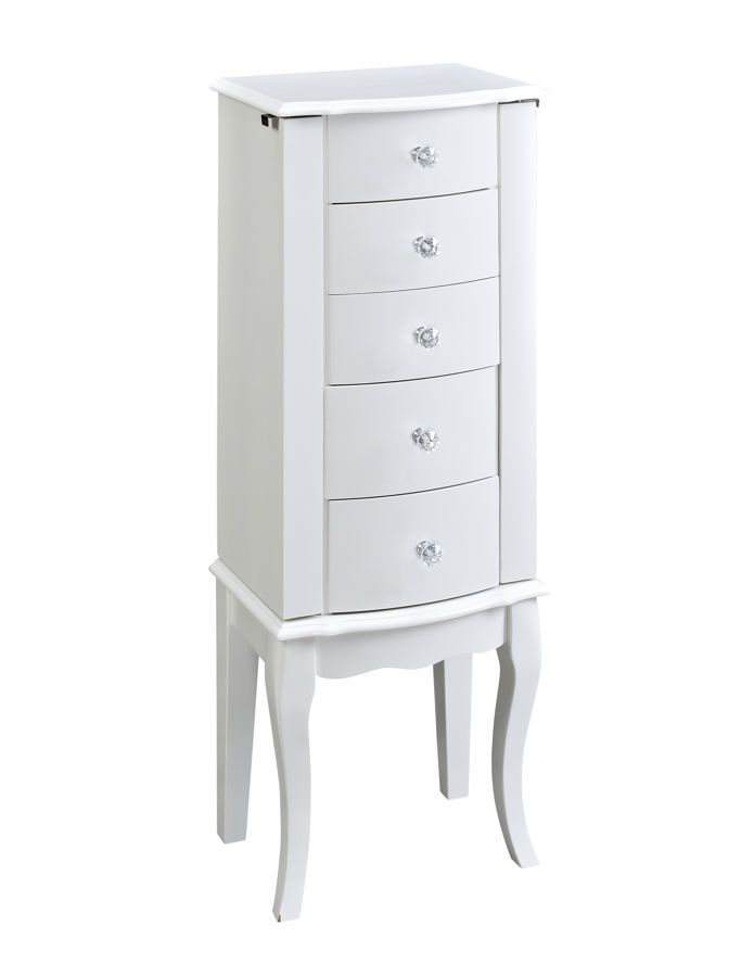 Powell furniture white solid wood jewelry armoire the for Solid wood jewelry armoire mirror