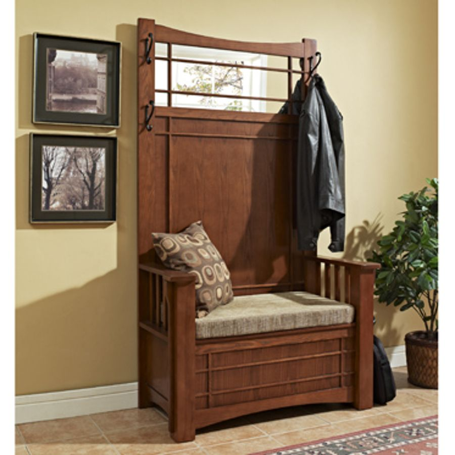 Mission Oak Hall Tree With Storage Bench The Classy Home