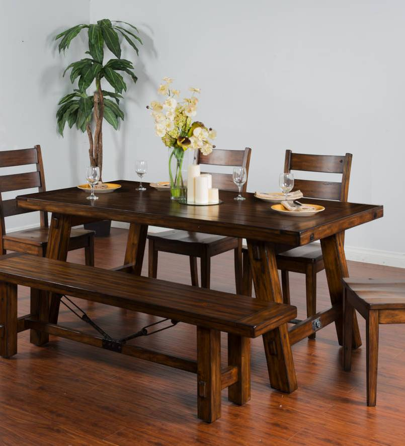 tuscany vintage mocha wood ladder back 5pc dining room set