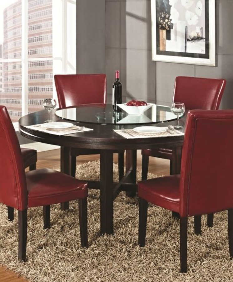 Steve Silver Hartford Round Dining Table With Lazy Susan | The Classy Home