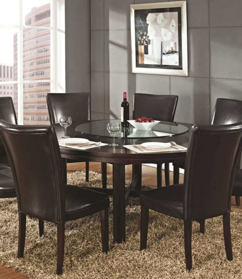 Steve Silver Hartford Wood Glass Dining Table With Lazy Susan The