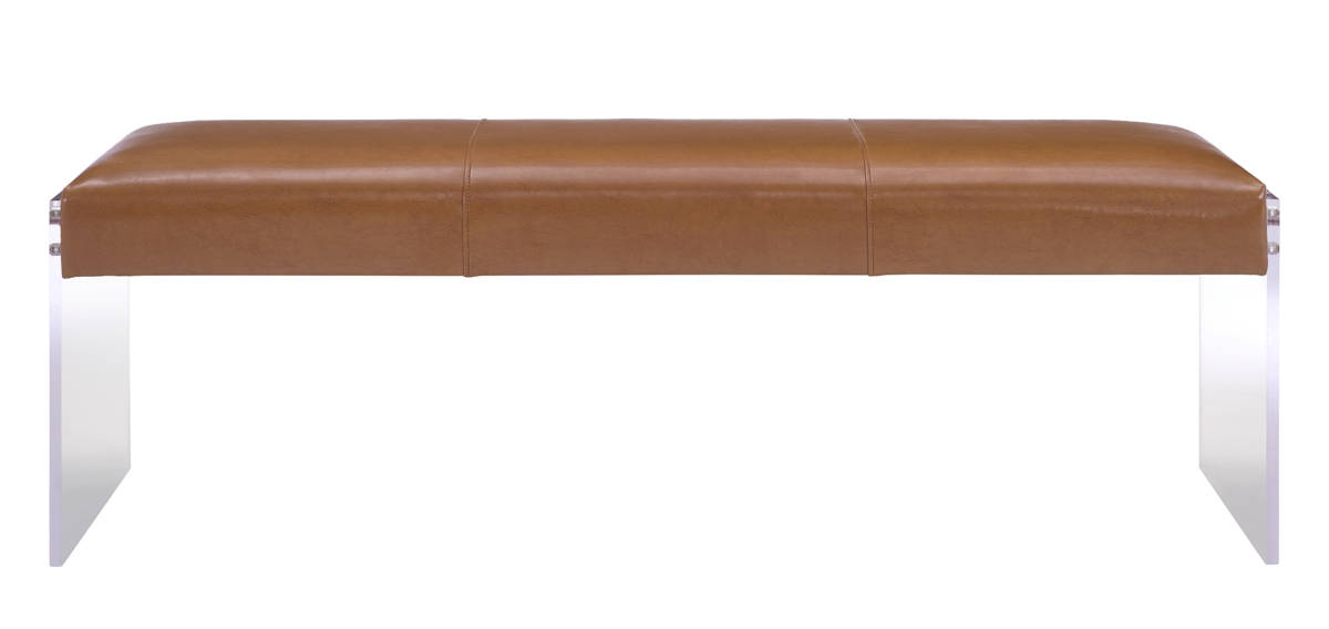 Tov Furniture Envy Brown Leather Acrylic Bench The