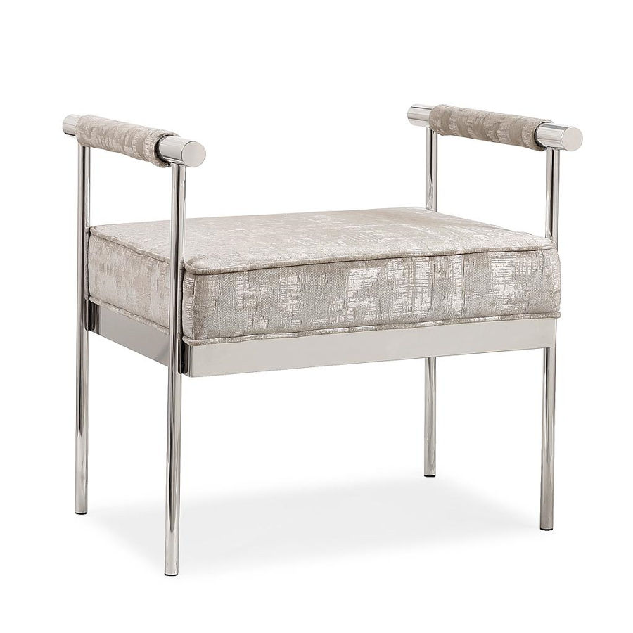 Tov Furniture Diva Silver Textured Bench The Classy Home