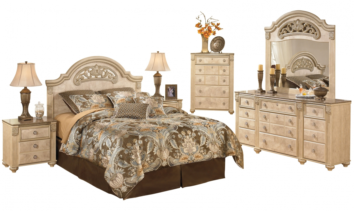 Saveaha Light Brown Wood Marble 2pc Bedroom Set W Queen