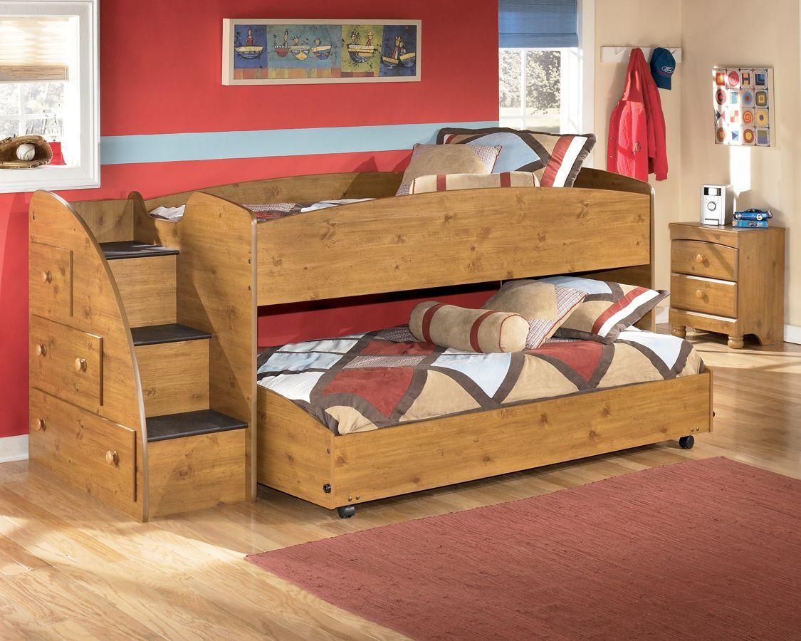 Stages Light Brown Loft Bed Left Side Steps