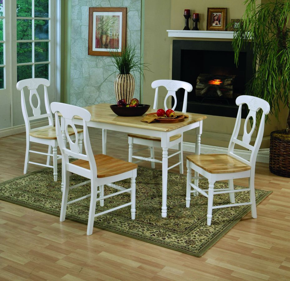 Coaster Lexton 101561 Rectangular Dining Table With 18: Casual Natural White Wood Rectangle Dinette Set