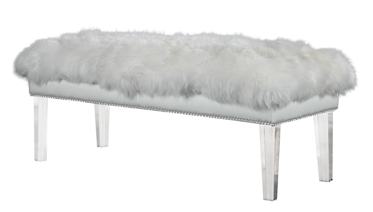 Black TOV Furniture TOV-O23 Luxe Sheepskin Lucite Bench